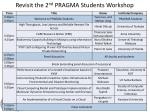 revisit the 2 nd pragma students workshop