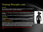 training principles cont