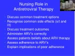 nursing role in antiretroviral therapy