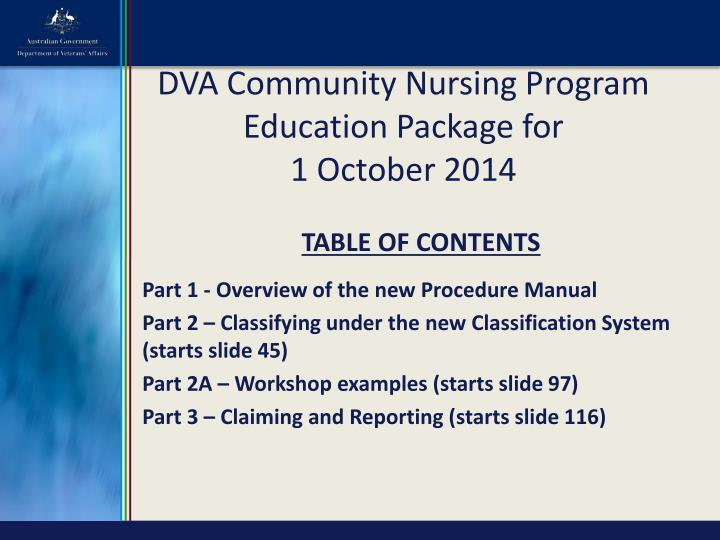 dva community nursing program education package for 1 october 2014 n.