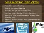 good habits of using water