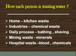 how each person is wasting water
