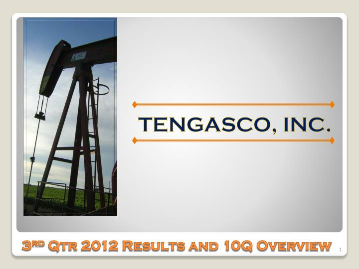 3 rd qtr 2012 results and 10q overview n.