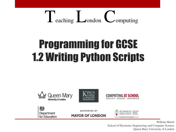 programming for gcse 1 2 writing python scripts n.