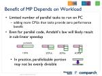 benefit of mp depends on workload