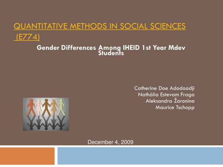 quantitative methods in social sciences e774 n.