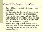 create ssds for each use case