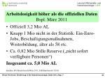 arbeitslosigkeit h her als die offiziellen daten bspl m rz 2011