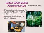 daikon white radish memorial service