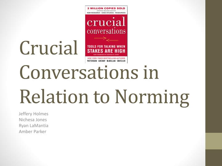 crucial conversations in relation to norming n.
