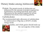 dietary intake among adolescents