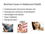 nutrition issues in adolescent health