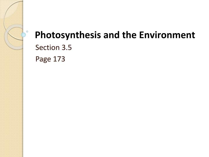 photosynthesis and the environment n.