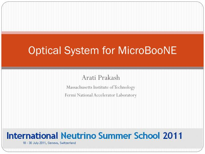 optical system for microboone n.