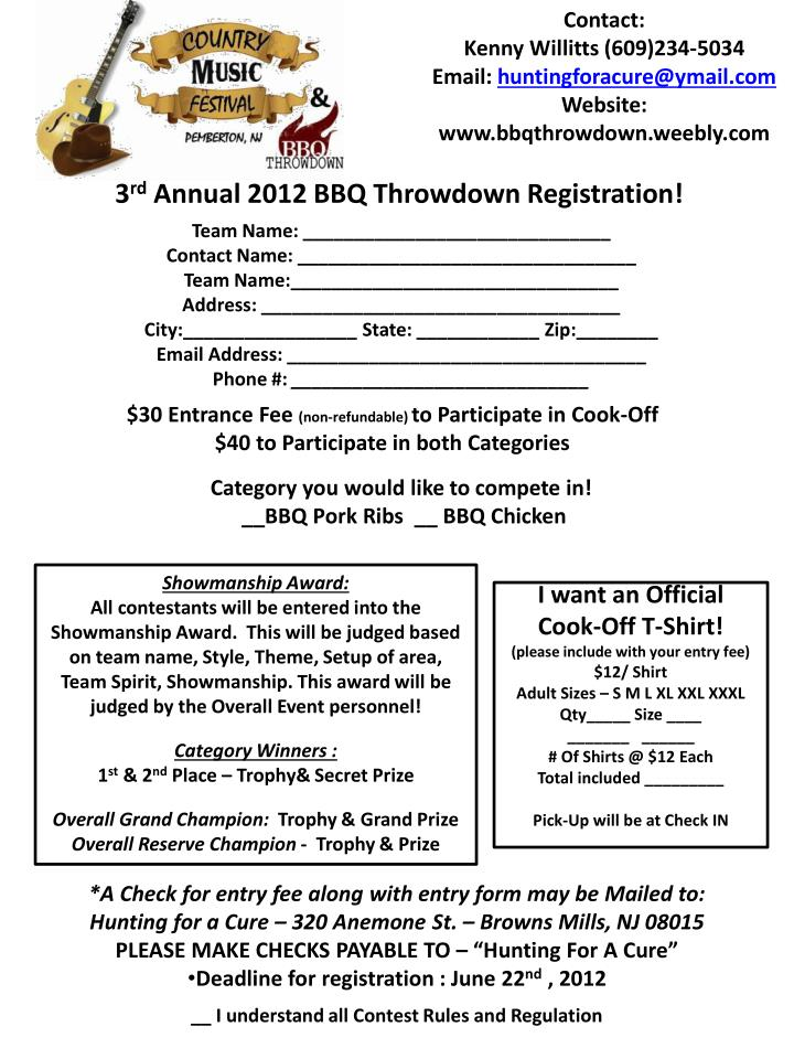 3 rd annual 2012 bbq throwdown registration n.