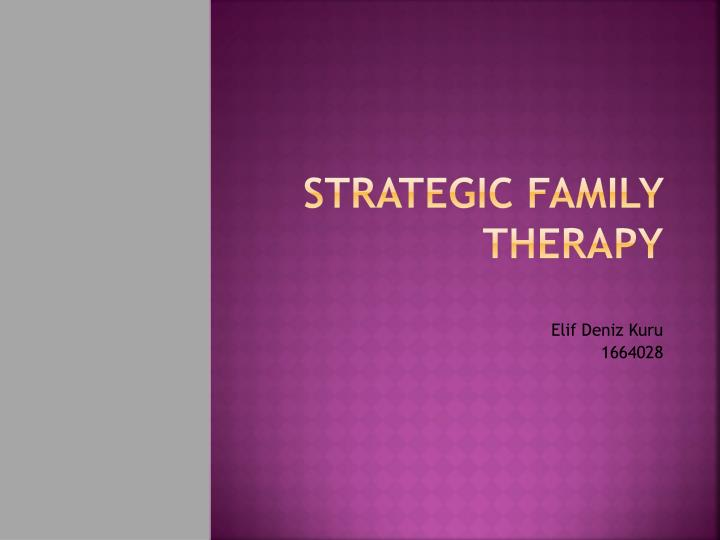 strategic family therapy n.