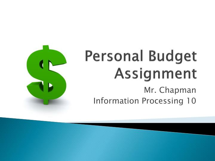 personal fiance assignment 10 Personal property taxes, sales taxes you may show me your completed return for the 10-point assignment credit project-based learning for the personal finance.