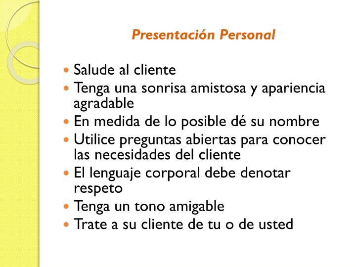 Presentación Personal