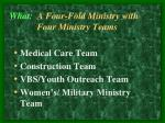 what a four fold ministry with four ministry teams