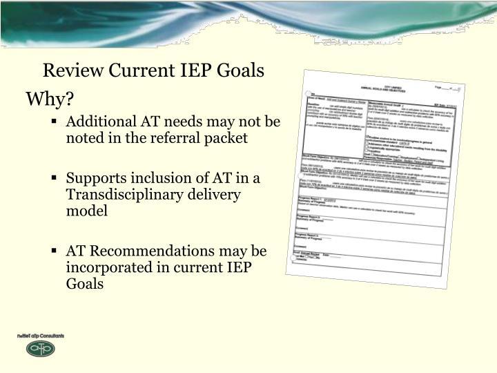 Review Current IEP Goals