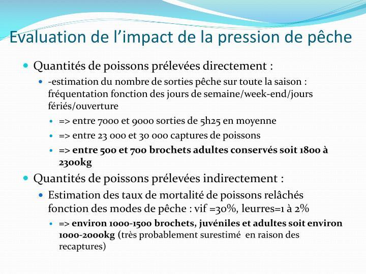 Evaluation de l'impact de la pression de pêche