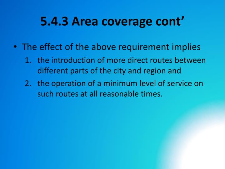 5.4.3 Area coverage cont'