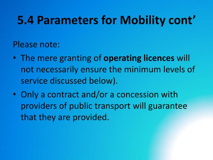 5.4 Parameters for Mobility cont'