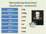 remembering hierarchical classification mnemonics
