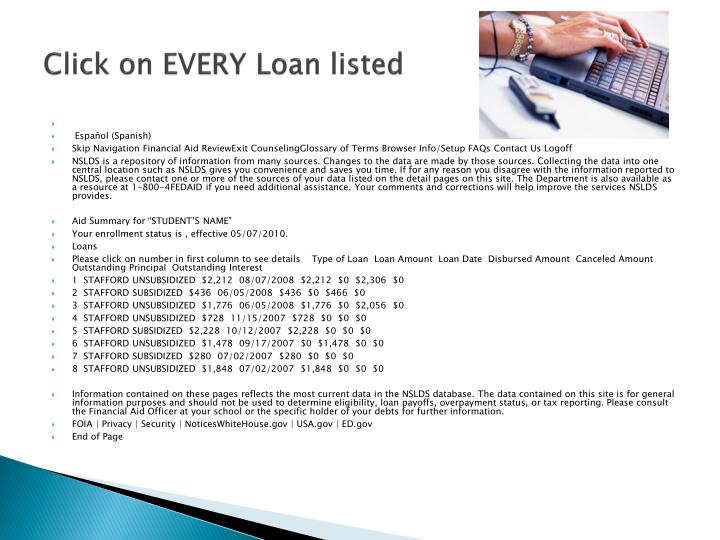 Click on EVERY Loan listed