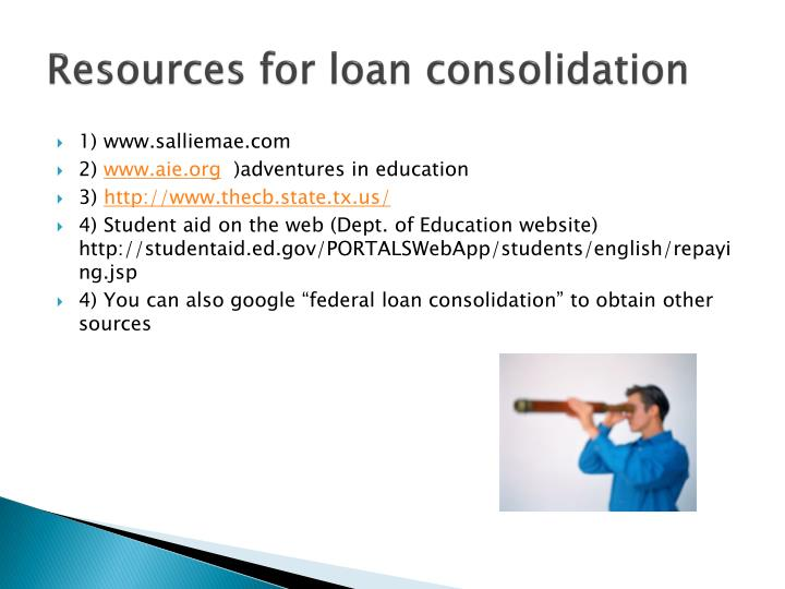Resources for loan consolidation