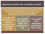 breaking down the learning target