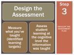 develop the assessment plan