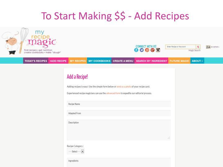 To Start Making