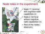 node roles in the experiment