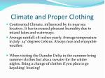 climate and proper clothing