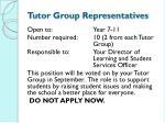 tutor group representatives
