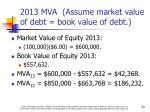 2013 mva assume market value of debt book value of debt