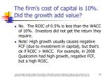 the firm s cost of capital is 10 did the growth add value