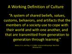 a working definition of culture