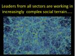 leaders from all sectors are working in increasingly complex social terrain