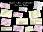 quality rubric developed by maryland online