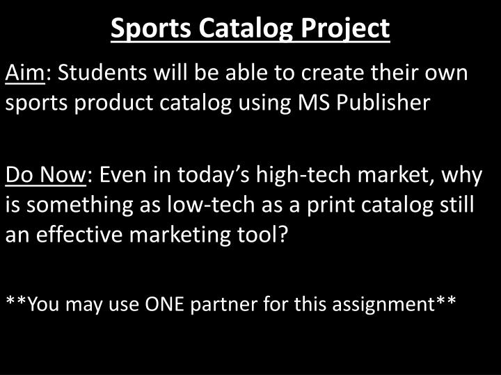 sports catalog project n.
