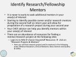 identify research fellowship mentors