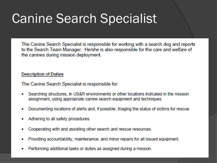 Canine Search Specialist