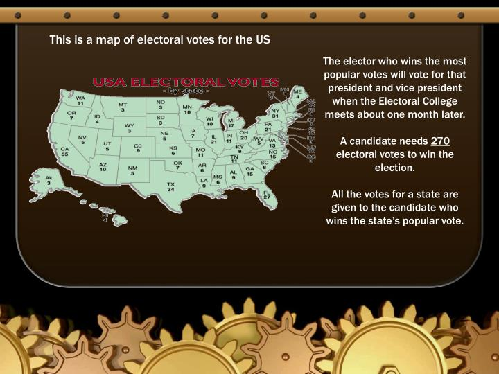 This is a map of electoral votes for the US