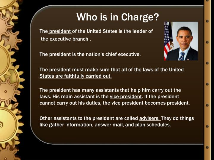 Who is in charge