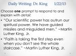 daily writing dr king 1 22 13