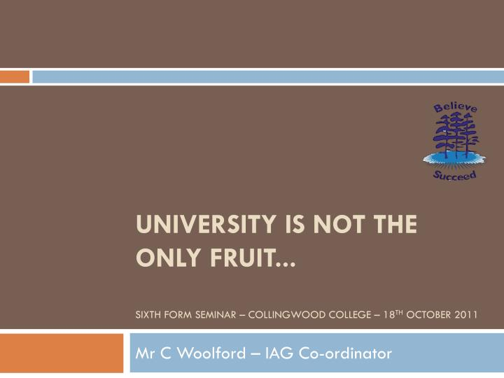 university is not the only fruit sixth form seminar collingwood college 18 th october 2011 n.