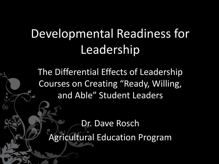 developmental readiness for leadership n.