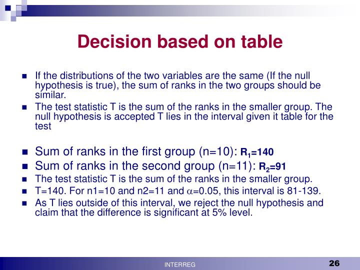Decision based on table